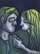 Oil Pastel Prints Originals - In Love by Kamil Swiatek
