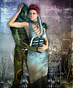 Hug Digital Art Posters - In Love with an Alien Poster by Jutta Maria Pusl