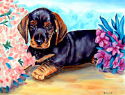 Dachshund Paintings - In Moms Flowers - Dachshund by Lyn Cook