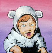 Toddler Portrait Paintings - In My Animal Suit by Jera Sky