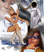 Superstar Painting Posters - In My Life - Whitney Houston Poster by Reggie Duffie