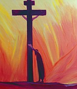 Jesus Painting Framed Prints - In our sufferings we can lean on the Cross by trusting in Christs love Framed Print by Elizabeth Wang
