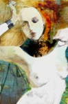 Fine Art Greeting Cards Art - In Pain by Maria Szollosi