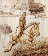 Cowboy Pyrography Originals - In Passing by Jerrywayne Anderson