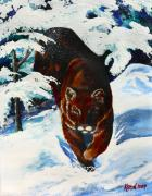 Mountain Lion Paintings - In Pursuit by Karon Melillo DeVega