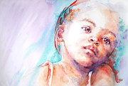 Watercolour Portrait Prints - In Silence Print by Stephie Butler