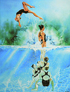 Action Sports Artist Paintings - In Sync by Hanne Lore Koehler