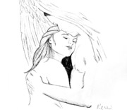 Boy And Girl Drawings - In the arms of an angel without quote by Rebecca Wood