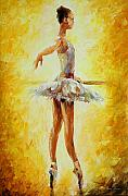 Ballet Art Prints - In The Ballet Class Print by Leonid Afremov