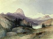Snowy Trees Paintings - In the Bighorn Mountains by Thomas Moran