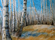 Russia Paintings - in the Birch Grove by Khromykh Natalia