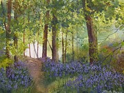 Bluebells Paintings - In the Bluebell Wood by Jim Mc Partlin