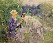 Morisot; Berthe (1841-95) Painting Framed Prints - In the Bois de Boulogne Framed Print by Berthe Morisot