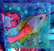 Abstracted Mixed Media Prints - In the Bubbles Print by Beverly  Koski