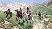 Gouache Painting Metal Prints - In the Cheyenne Country Metal Print by John Hauser