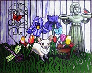Painted Cat Posters - In The Chihuahua Garden Of Good and Evil Poster by Genevieve Esson