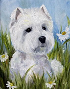 Westie Puppies Posters - In the Daisies Poster by Mary Sparrow Smith
