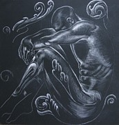 Seated Nude Drawing Prints - In The Dark... Print by Iglika Milcheva-Godfrey