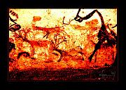 Prehistoric Paintings - In the Distance by Angela Treat Lyon