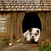 Chipmunk Digital Art - In the dog house by Thanh Thuy Nguyen