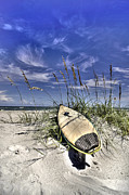 Surfboards Posters - In the Dunes Poster by Benanne Stiens