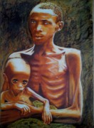 People Pastels Posters - In The Face Of Famine Poster by Mandy Thomas