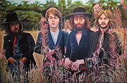 George Harrison Painting Originals - In the Field the Beatles by Sandra Ragan