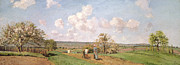 Field. Cloud Painting Prints - In the fields Print by Camille Pissarro