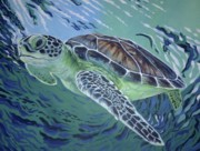 Ocean Turtle Paintings - In The Flow by Michelle Spragg