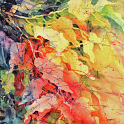 Fiber Art Paintings - In The Flow Of Leaves by Deborah Younglao