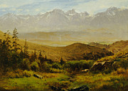 Mountainous Painting Posters - In the Foothills of the Rockies Poster by Albert Bierstadt