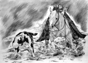 Wild Horse Drawings - In the game of cutting by L Scepkova