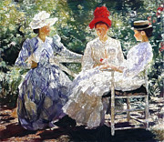 Women Pastels Posters - In the Garden 1890 Poster by Stefan Kuhn