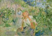 Morisot; Berthe (1841-95) Painting Framed Prints - In the Garden at Roche Plate Framed Print by Berthe Morisot