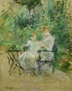 Sewing Paintings - In the Garden by Berthe Morisot