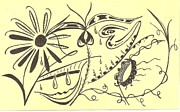 Rain Drawings - In the Garden by Carol Shoemaker