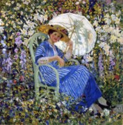 Blue Dress Paintings - In the Garden by Frederick Carl Frieseke