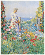 Fine American Art Posters - In the Garden Poster by Frederick Childe Hassam