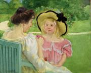 Cassatt; Mary Stevenson (1844-1926) Posters - In the Garden Poster by Mary Stevenson Cassatt