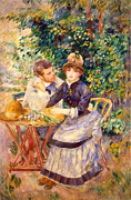 Attentive Framed Prints - In the Garden Framed Print by Pierre Auguste Renoir