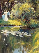 White Water Lilies Posters - In the Garden Poster by Sir Hubert von Herkomer