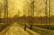 Road Painting Framed Prints - In the Golden Gloaming Framed Print by John Atkinson Grimshaw