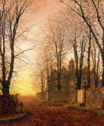 Fallen Leaf Painting Posters - In the Golden Olden Time Poster by John Atkinson Grimshaw