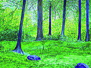 Finance Painting Originals - In the Green Woods by Seshadri Sreenivasan