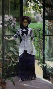 Woman In Tree Posters - In the Greenhouse Poster by Albert Bartholome