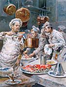 Taste Painting Posters - In the Kitchen Poster by G Marchetti