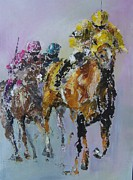 Horses Posters Painting Posters - In The Lead Poster by John Henne