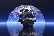 Nautical Digital Art - In the light of the silvery moon by Claude McCoy