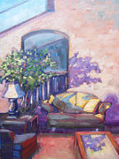 Night Lamp Painting Originals - In the Lobby by Brandy Cattoor