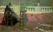 Girls In Pink Prints - In the Luxembourg Gardens  Print by Henri Edmond Cross